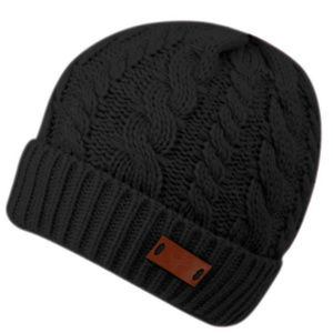 Black Chunky Knit Sherpa Lined Beanie Hat